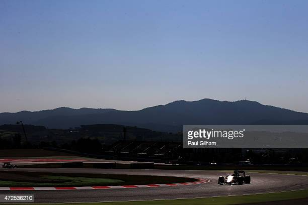 Nico Hulkenberg of Germany and Force India drives during practice for the Spanish Formula One Grand Prix at Circuit de Catalunya on May 8 2015 in...