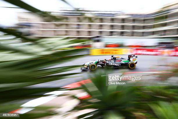 Nico Hulkenberg of Germany and Force India drives during practice ahead of the Monaco Formula One Grand Prix at Circuit de Monaco on May 22 2014 in...