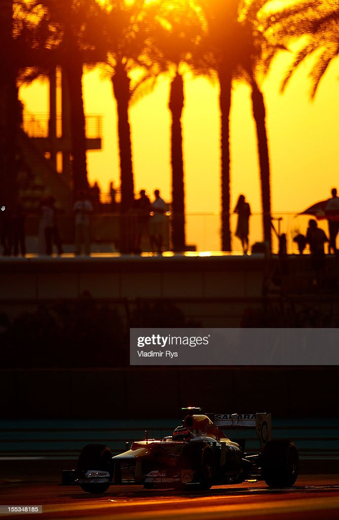 <a gi-track='captionPersonalityLinkClicked' href=/galleries/search?phrase=Nico+Hulkenberg&family=editorial&specificpeople=2566799 ng-click='$event.stopPropagation()'>Nico Hulkenberg</a> of Germany and Force India drives during qualifying for the Abu Dhabi Formula One Grand Prix at the Yas Marina Circuit on November 3, 2012 in Abu Dhabi, United Arab Emirates.