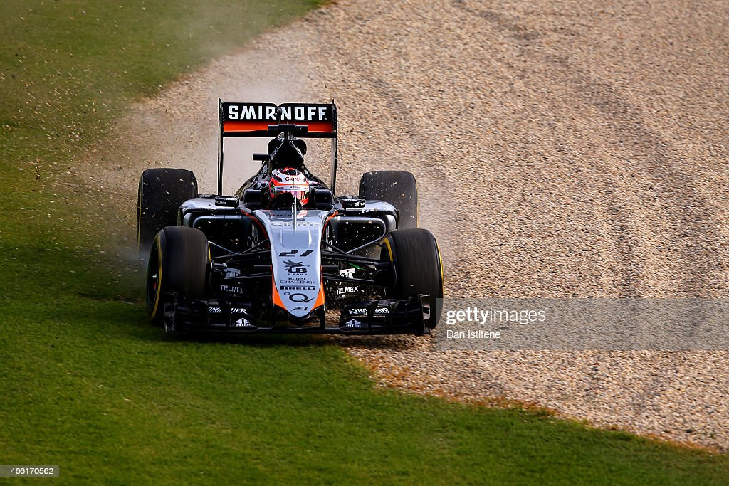 <a gi-track='captionPersonalityLinkClicked' href=/galleries/search?phrase=Nico+Hulkenberg&family=editorial&specificpeople=2566799 ng-click='$event.stopPropagation()'>Nico Hulkenberg</a> of Germany and Force India drives during qualifying for the Australian Formula One Grand Prix at Albert Park on March 14, 2015 in Melbourne, Australia.