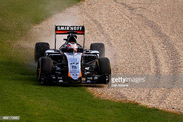 Nico Hulkenberg of Germany and Force India drives during qualifying for the Australian Formula One Grand Prix at Albert Park on March 14 2015 in...