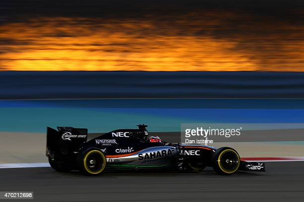 Nico Hulkenberg of Germany and Force India drives during qualifying for the Bahrain Formula One Grand Prix at Bahrain International Circuit on April...
