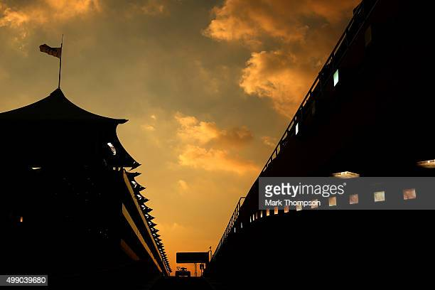 Nico Hulkenberg of Germany and Force India drives during qualifying for the Abu Dhabi Formula One Grand Prix at Yas Marina Circuit on November 28...