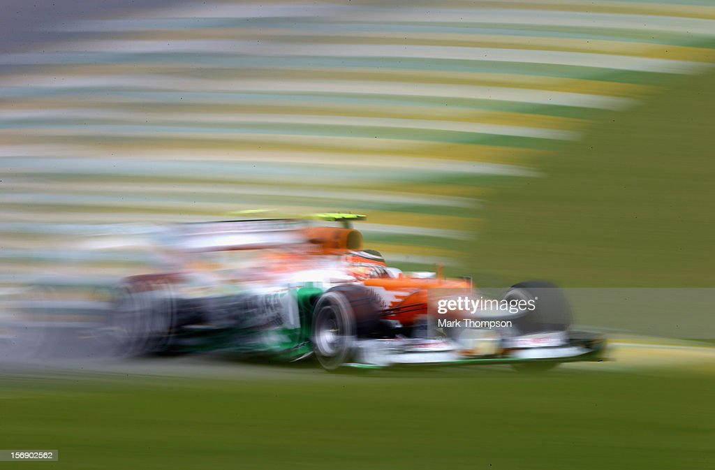 Nico Hulkenberg of Germany and Force India drives during the final practice session prior to qualifying for the Brazilian Formula One Grand Prix at the Autodromo Jose Carlos Pace on November 24, 2012 in Sao Paulo, Brazil.