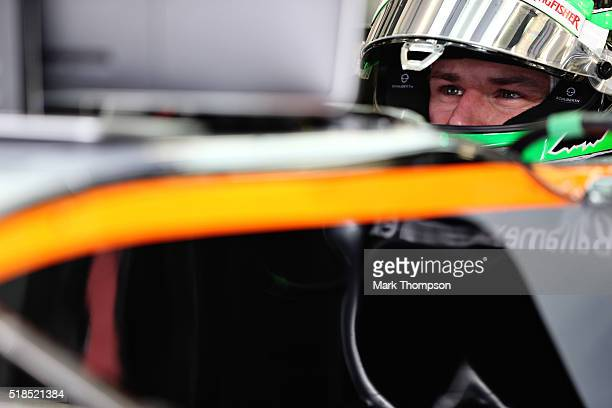Nico Hulkenberg of Germany and Force India in the garage during practice for the Bahrain Formula One Grand Prix at Bahrain International Circuit on...
