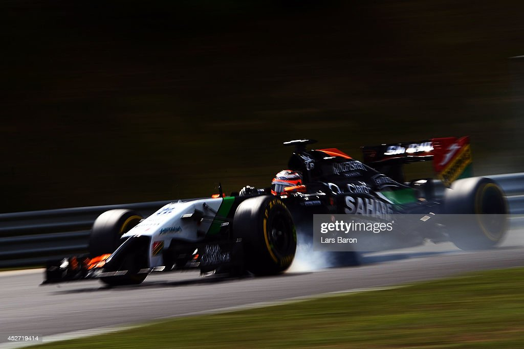 Nico Hulkenberg of Germany and Force India locks up during qualifying ahead of the Hungarian Formula One Grand Prix at Hungaroring on July 26, 2014 in Budapest, Hungary.