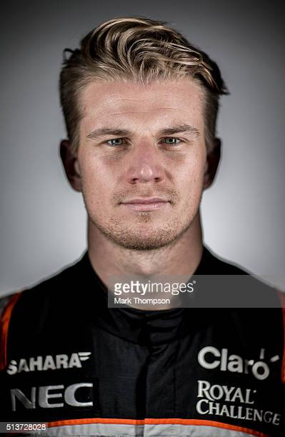 Nico Hulkenberg of Germany and Force India poses for a portrait during day two of F1 winter testing at Circuit de Catalunya on March 2 2016 in...