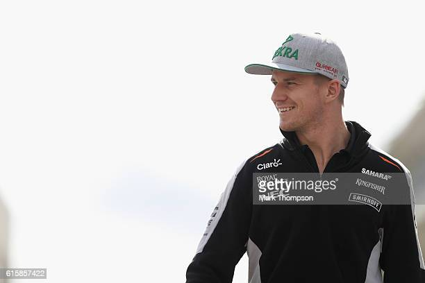 Nico Hulkenberg of Germany and Force India walks in the Paddock during previews ahead of the United States Formula One Grand Prix at Circuit of The...
