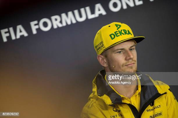 Nico Hulkenberg of Germany and Renault Sport F1 talk in the Drivers Press Conference during previews ahead of the Formula One Grand Prix of Hungary...