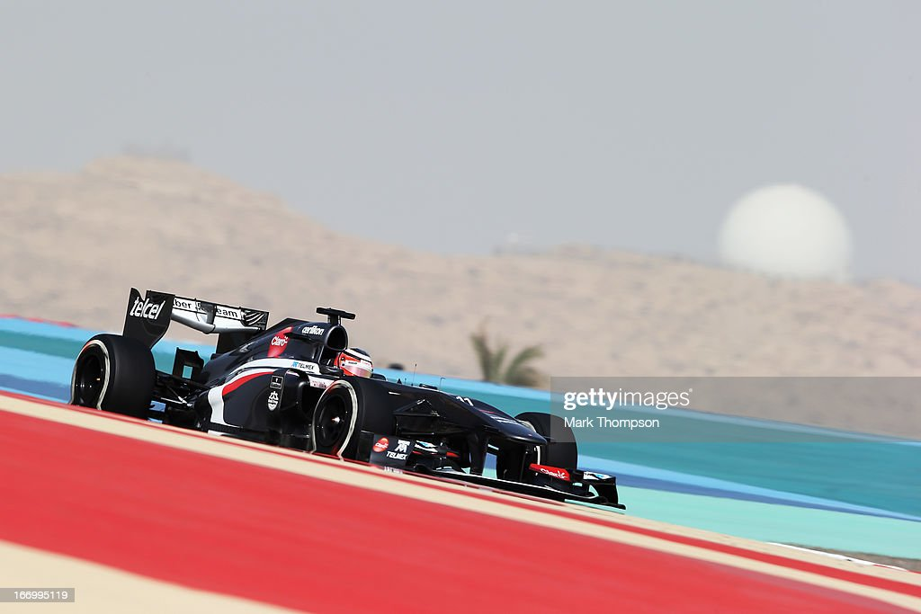 <a gi-track='captionPersonalityLinkClicked' href=/galleries/search?phrase=Nico+Hulkenberg&family=editorial&specificpeople=2566799 ng-click='$event.stopPropagation()'>Nico Hulkenberg</a> of Germany and Sauber F1 drives during practice for the Bahrain Formula One Grand Prix at the Bahrain International Circuit on April 19, 2013 in Sakhir, Bahrain.