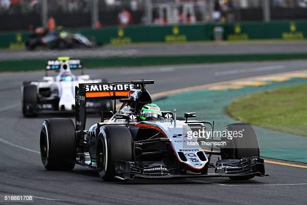 Nico Hulkenberg of Germany drives the Sahara Force India F1 Team VJM09 Mercedes PU106C Hybrid turbo on track during the Australian Formula One Grand...