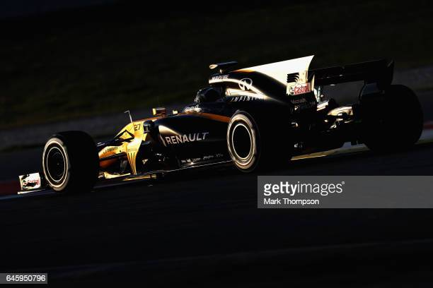 Nico Hulkenberg of Germany driving the Renault Sport Formula One Team Renault RS17 on track during day one of Formula One winter testing at Circuit...