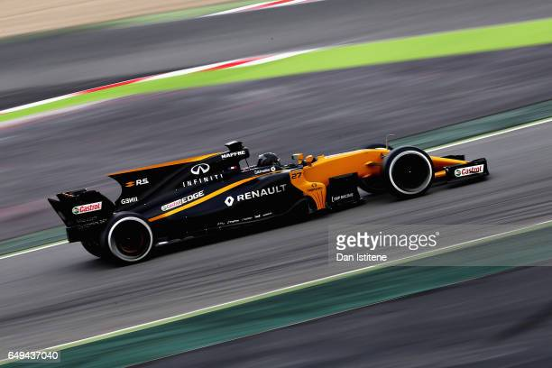 Nico Hulkenberg of Germany driving the Renault Sport Formula One Team Renault RS17 on track during day two of Formula One winter testing at Circuit...