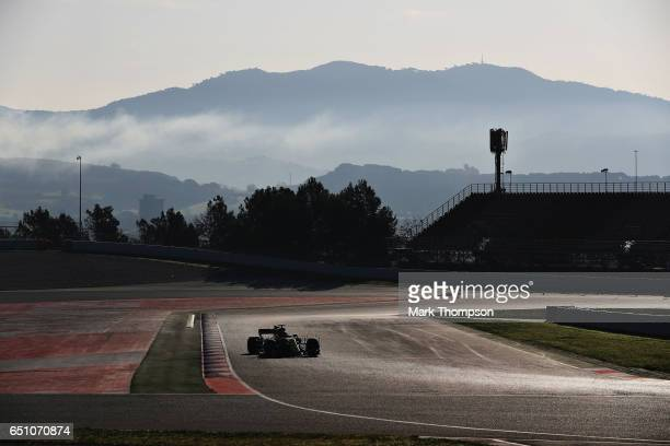 Nico Hulkenberg of Germany driving the Renault Sport Formula One Team Renault RS17 on track during the final day of Formula One winter testing at...