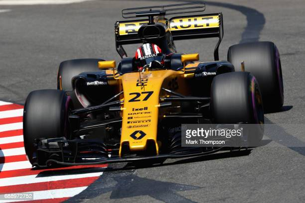 Nico Hulkenberg of Germany driving the Renault Sport Formula One Team Renault RS17 on track during qualifying for the Monaco Formula One Grand Prix...