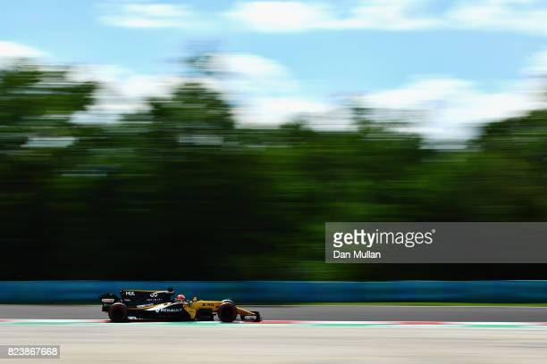 Nico Hulkenberg of Germany driving the Renault Sport Formula One Team Renault RS17 on track during practice for the Formula One Grand Prix of Hungary...