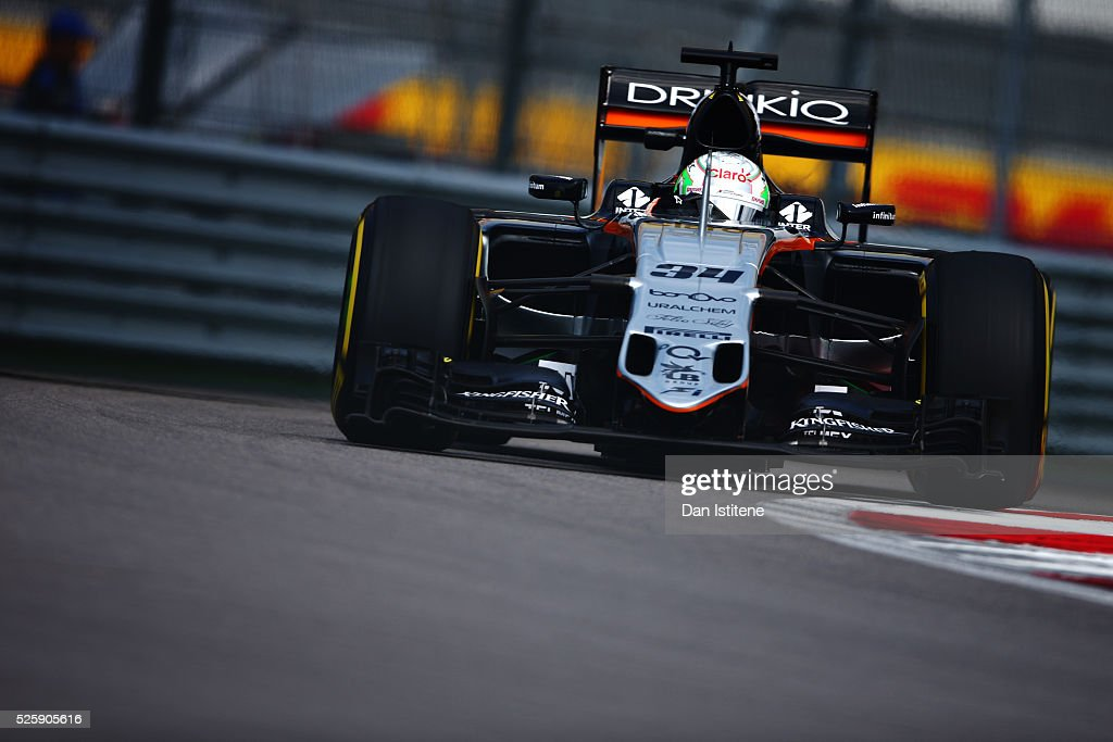 <a gi-track='captionPersonalityLinkClicked' href=/galleries/search?phrase=Nico+Hulkenberg&family=editorial&specificpeople=2566799 ng-click='$event.stopPropagation()'>Nico Hulkenberg</a> of Germany driving the (27) Sahara Force India F1 Team VJM09 Mercedes PU106C Hybrid turbo on track during practice for the Formula One Grand Prix of Russia at Sochi Autodrom on April 29, 2016 in Sochi, Russia.