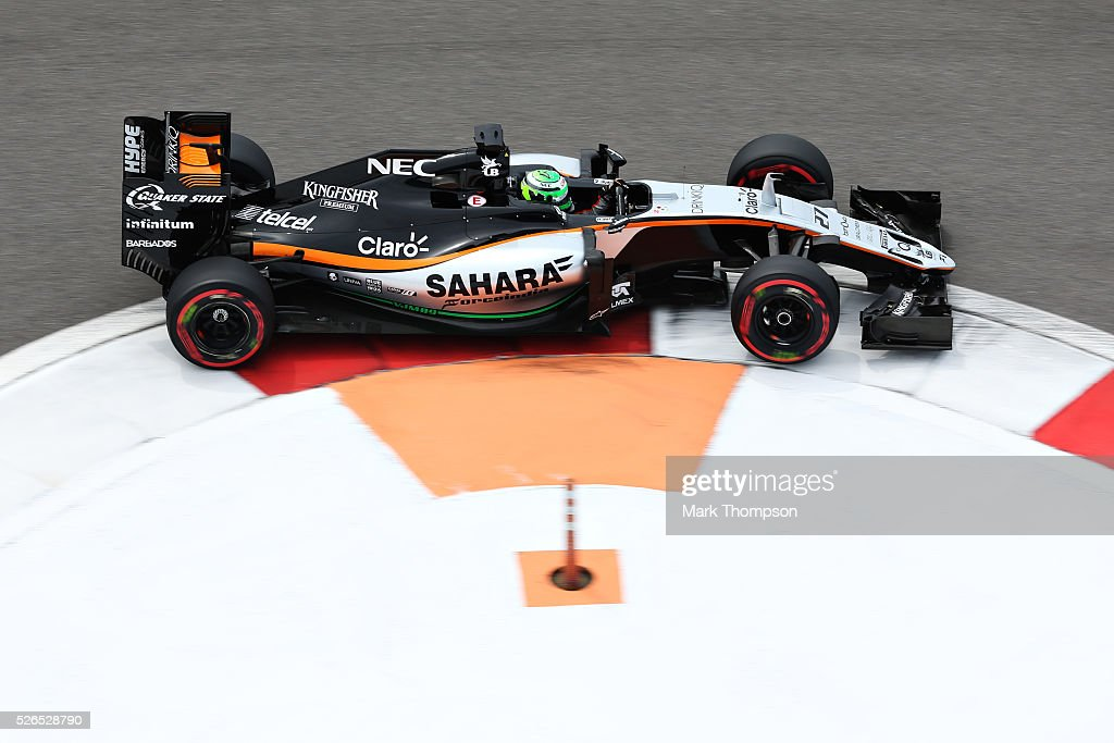 Nico Hulkenberg of Germany driving the (27) Sahara Force India F1 Team VJM09 Mercedes PU106C Hybrid turbo on track during final practice ahead of the Formula One Grand Prix of Russia at Sochi Autodrom on April 30, 2016 in Sochi, Russia.