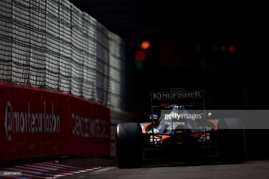 Nico Hulkenberg of Germany driving the (27) Sahara Force India F1 Team VJM09 Mercedes PU106C Hybrid turbo on track during practice for the Monaco Formula One Grand Prix at Circuit de Monaco on May 26, 2016 in Monte-Carlo, Monaco.