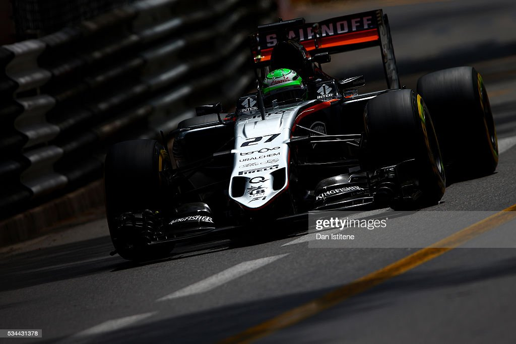 <a gi-track='captionPersonalityLinkClicked' href=/galleries/search?phrase=Nico+Hulkenberg&family=editorial&specificpeople=2566799 ng-click='$event.stopPropagation()'>Nico Hulkenberg</a> of Germany driving the (27) Sahara Force India F1 Team VJM09 Mercedes PU106C Hybrid turbo on track during practice for the Monaco Formula One Grand Prix at Circuit de Monaco on May 26, 2016 in Monte-Carlo, Monaco.