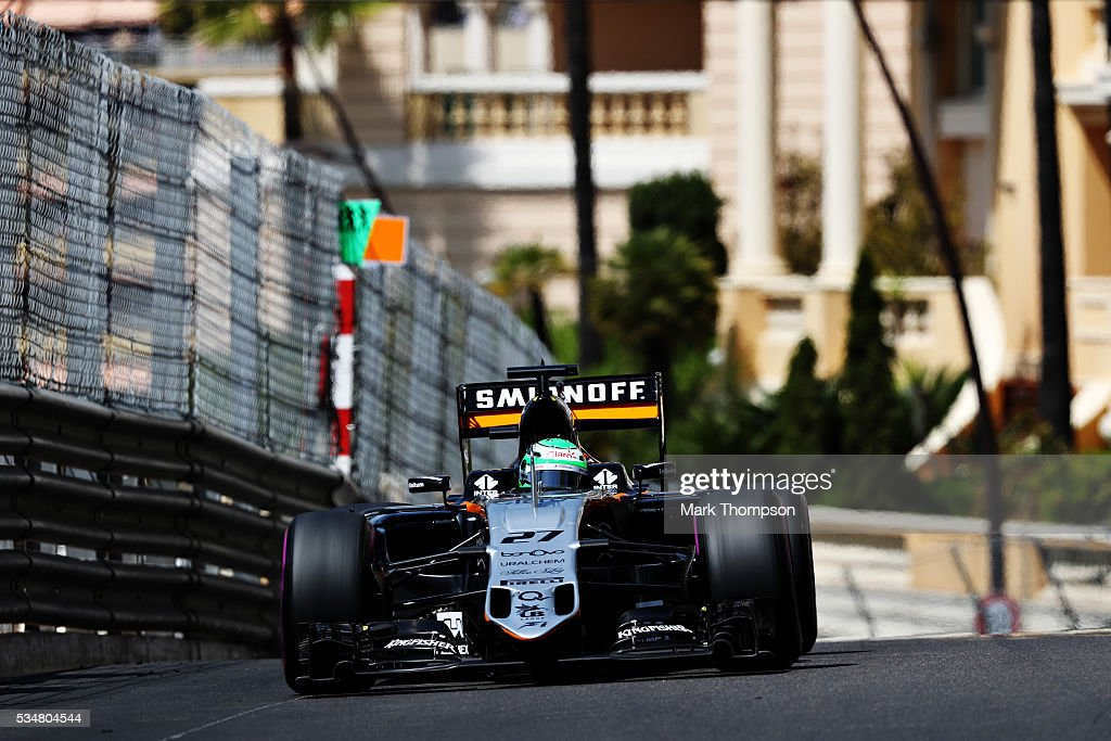 Nico Hulkenberg of Germany driving the (27) Sahara Force India F1 Team VJM09 Mercedes PU106C Hybrid turbo on track during final practice ahead of the Monaco Formula One Grand Prix at Circuit de Monaco on May 28, 2016 in Monte-Carlo, Monaco.