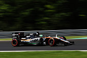 Nico Hulkenberg of Germany driving the Sahara Force India F1 Team VJM09 Mercedes PU106C Hybrid turbo on track during final practice for the Formula...