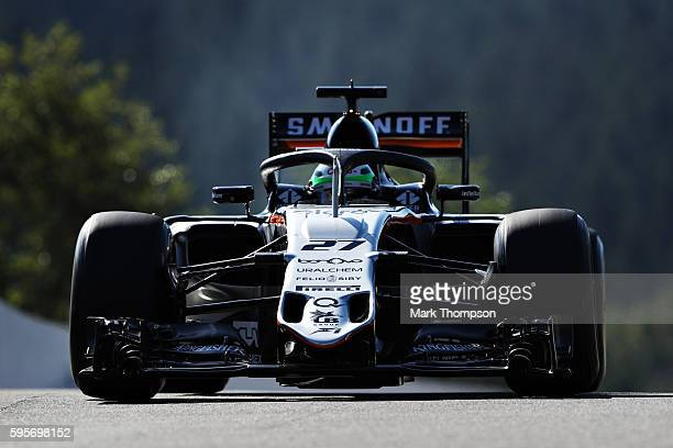 Nico Hulkenberg of Germany driving the Sahara Force India F1 Team VJM09 Mercedes PU106C Hybrid turbo fitted with the halo on track during practice...