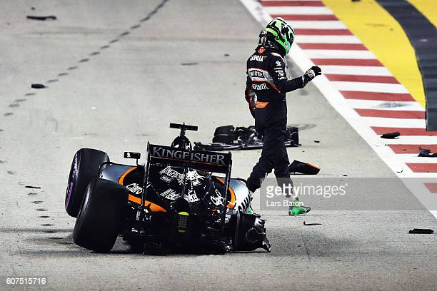 Nico Hulkenberg of Germany driving the Sahara Force India F1 Team VJM09 Mercedes PU106C Hybrid turbo walks away from his car during the Formula One...