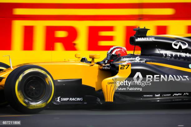 Nico Hulkenberg of Renault Sport F1 Team competes in the 2nd F1 practice session at the 2017 Australian Formula 1 Grand Prix on March 24 2017 in...