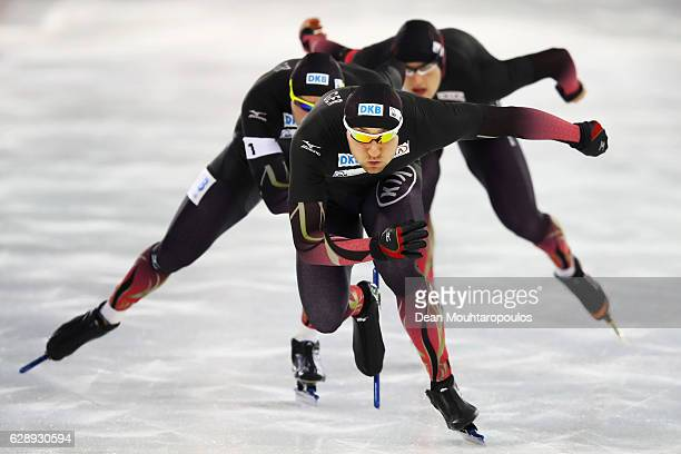 Nico Ihle Denny Ihle and Joel Dufter of Germany competes in the Team Sprint Men on Day Two of the Speed Skating ISU World Cup on December 10 2016 in...