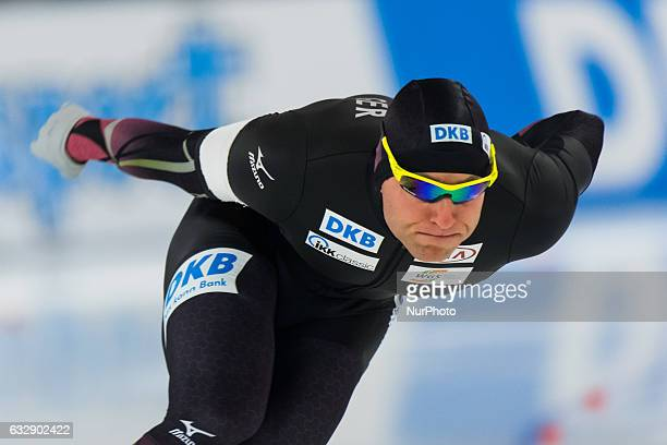 Nico Ihle during the ISU World Cup Speed Skating Day 1 at the Sportforum Berlin Stadium on January 27 2017 in Berlin Germany