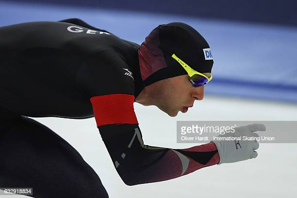 Nico Ihle of Germany competes in the Men Divison A 1000 meter race during the ISU World Cup Speed Skating Day 2 at the Sportforum Berlin Stadium on...