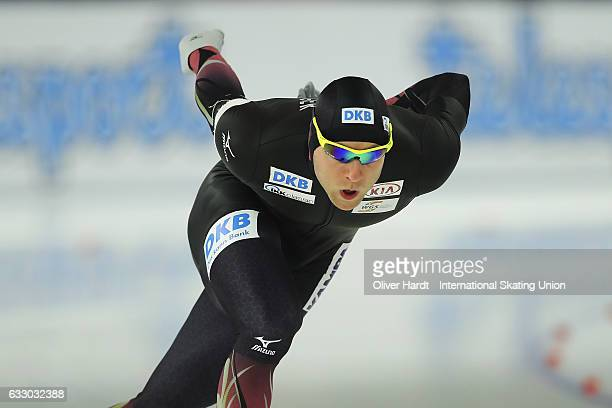 Nico Ihle of Germany competes in the Men Divison A 1000m race during the ISU World Cup Speed Skating Day 3 at the Sportforum Berlin Stadium on...