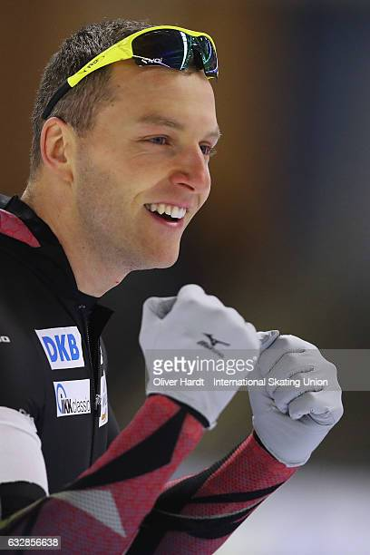 Nico Ihle of Germany competes in the Men Divison A 500m race during the ISU World Cup Speed Skating Day 1 at the Sportforum Berlin Stadium on January...