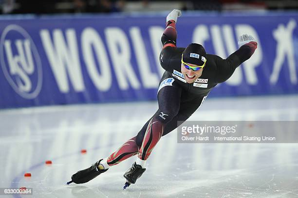 Nico Ihle of Germany competes in the Men Divison A 500m race during the ISU World Cup Speed Skating Day 3 at the Sportforum Berlin Stadium on January...