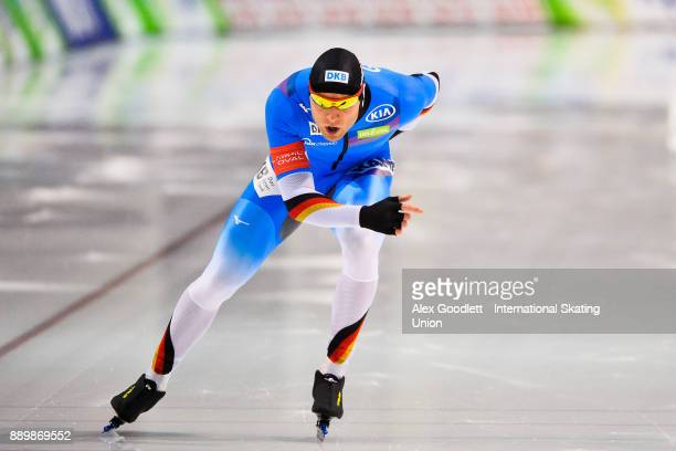 Nico Ihle of Germany competes in the men's 1000 meter final during day 3 of the ISU World Cup Speed Skating event on December 10 2017 in Salt Lake...