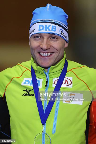 Nico Ihle of Germany with the first place celebrate after the Men's A Divison 500 meter race during the ISU World Cup Speed Skating Day 1 at the...