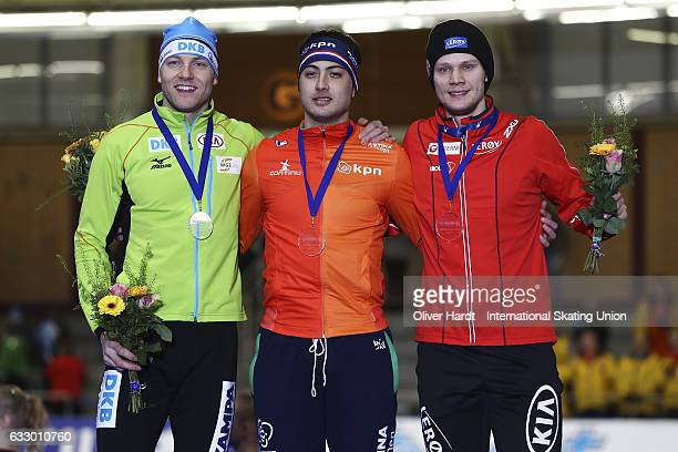 Nico Ihle of Germany with the second place Kai Verbij of Netherlands of Netherlands with the first place and Havard Holmefjord Lorentzen of Norway...