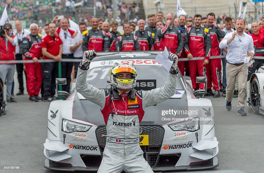 Nico Mueller (CHE) of Audi Sport Team Abt Sportsline after winning the German Touring Car Championship race at the Norisring during Day 2 of the 74. International ADAC Norisring Speedweekend on June 26, 2016 in Nuremberg, Germany.