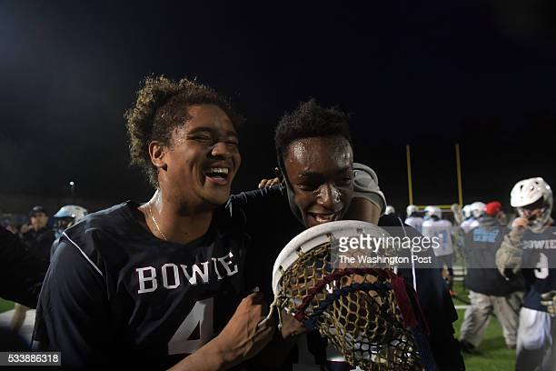 Nico Padilla who has a lacrosse scholarship to Howard and Hazma AbdusSalaam who has one to attend Hampton celebrate the victory over Eleanor...
