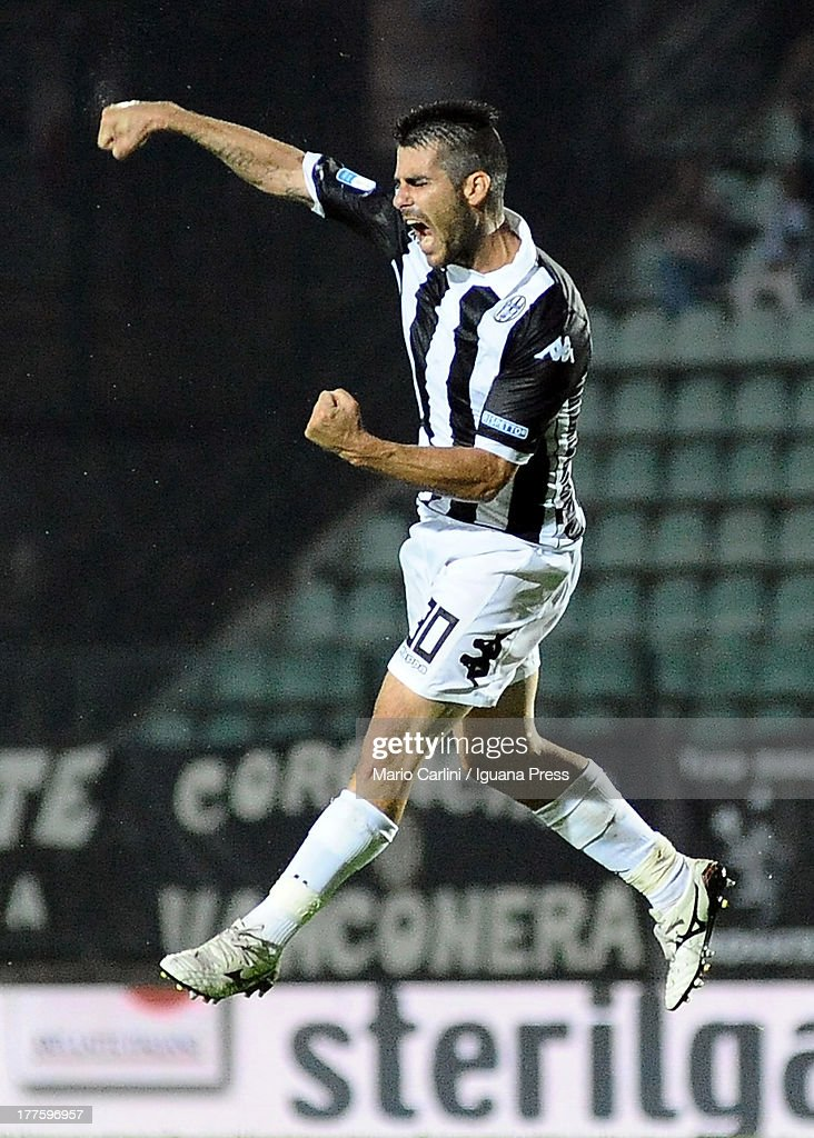 Nico Pulzetti # 30 ofAC Siena celebrates after scoring his team's fifth goal during the Serie B match between AC Siena and FC Crotone at Stadio Artemio Franchi on August 24, 2013 in Siena, Italy.
