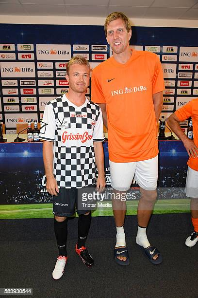 Nico Rosberg and Dirk Nowitzki during the 'Champions for charity' football match between Nowitzki All Stars and Nazionale Piloti in honor of Michael...