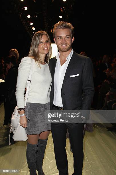 Nico Rosberg and girlfriend Vivian Sibold attend the Rena Lange Show during the Mercedes Benz Fashion Week Autumn/Winter 2011 at Bebelplatz on...