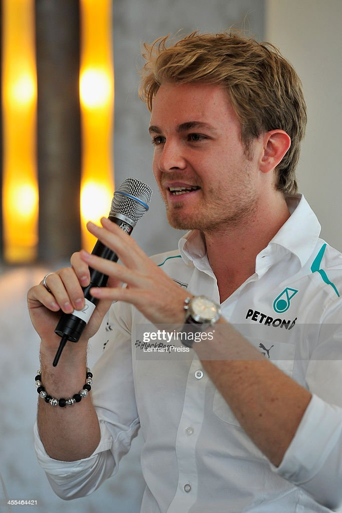 <a gi-track='captionPersonalityLinkClicked' href=/galleries/search?phrase=Nico+Rosberg&family=editorial&specificpeople=800808 ng-click='$event.stopPropagation()'>Nico Rosberg</a> attends a press talk following a watchmaking class by swiss watch manufacturer IWC at The Charles Hotel on December 12, 2013 in Munich, Germany.