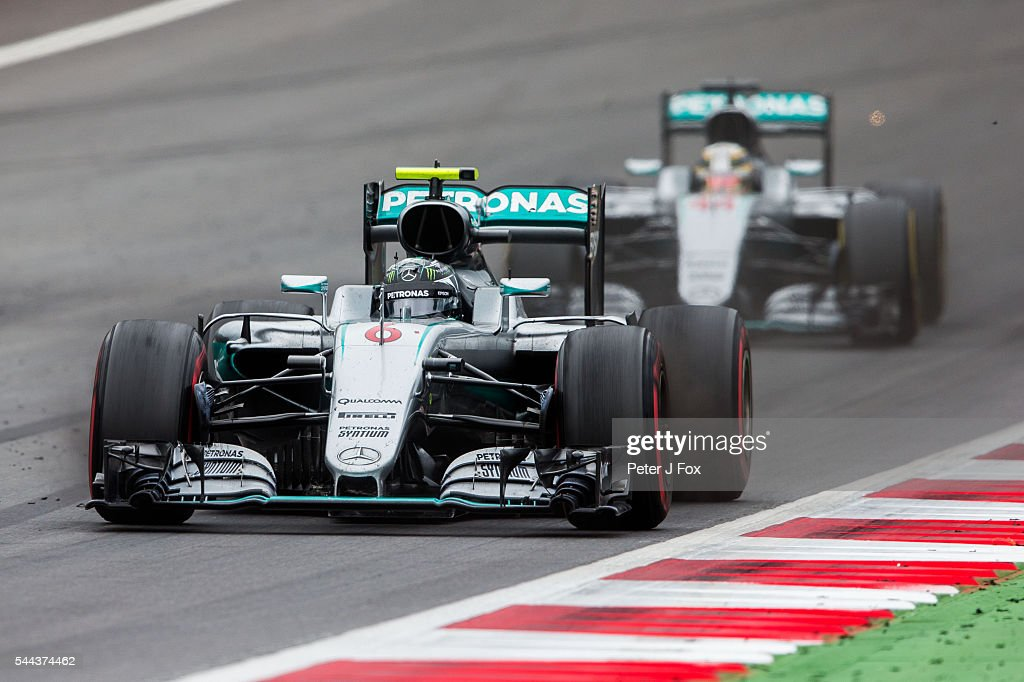 Nico Rosberg of Germany and Lewis Hamilton of Great Britain both of Mercedes during the Formula One Grand Prix of Austria at Red Bull Ring on July 3...