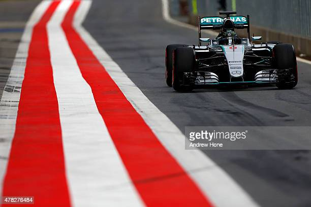 Nico Rosberg of Germany and Mercedes drives during Formula One Testing at the Red Bull Ring on June 24 2015 in Spielberg Austria