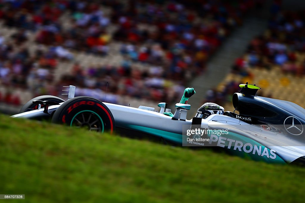 Nico Rosberg of Germany and Mercedes GP celebrates after claiming pole position during final practice for the Formula One Grand Prix of Germany at...