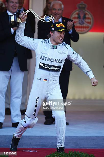 Nico Rosberg of Germany and Mercedes GP celebrates after winning the Monaco Formula One Grand Prix at the Circuit de Monaco on May 26 2013 in...