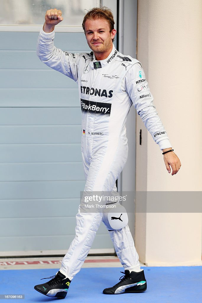 Nico Rosberg of Germany and Mercedes GP celebrates finishing first during qualifying for the Bahrain Formula One Grand Prix at the Bahrain International Circuit on April 20, 2013 in Sakhir, Bahrain.
