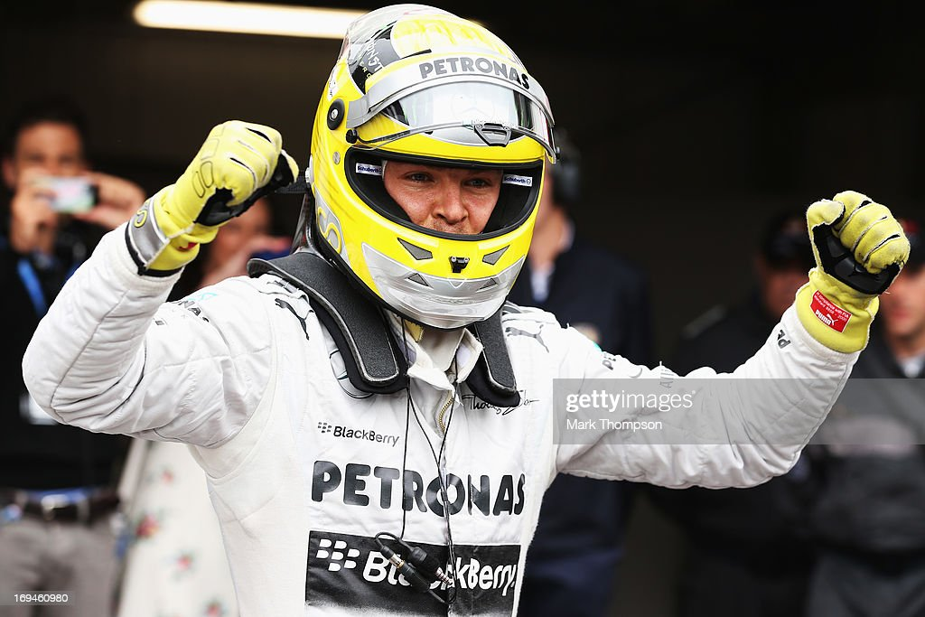 Nico Rosberg of Germany and Mercedes GP celebrates finishing first during qualifying for the Monaco Formula One Grand Prix at the Circuit de Monaco on May 25, 2013 in Monte-Carlo, Monaco.